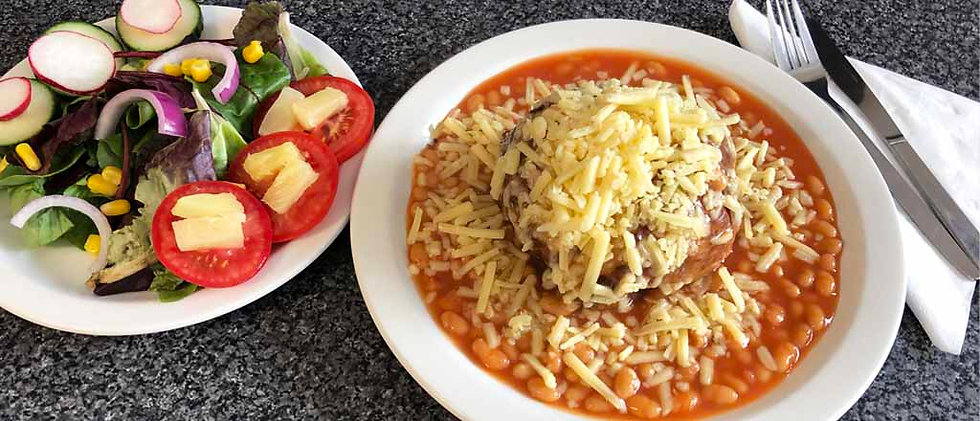 Potato with Baked Beans & Cheese with salad