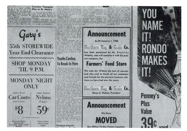 Northern Hay & Grain 1960 Sale Annouceme