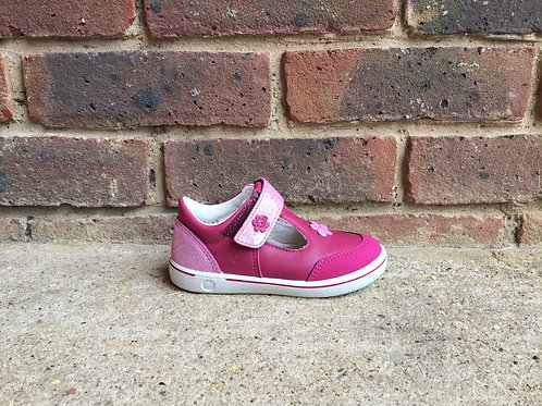 Ricosta Mandy Pink Leather Girls T Bar Rip Tape Shoes