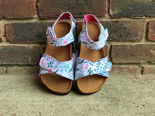 Joules Tippy Toes White Flamingo Ditsy Sandal