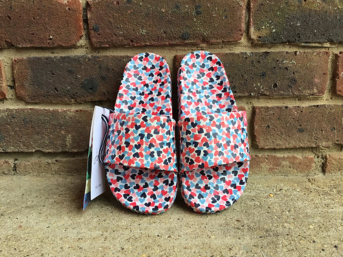 Joules Poolside Sliders White Hearts