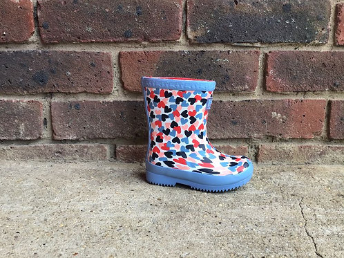 Joules White Hearts Roll Up Wellies