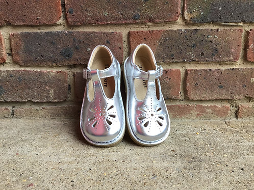 Startrite Lottie Silver Leather Girls Buckle Shoes