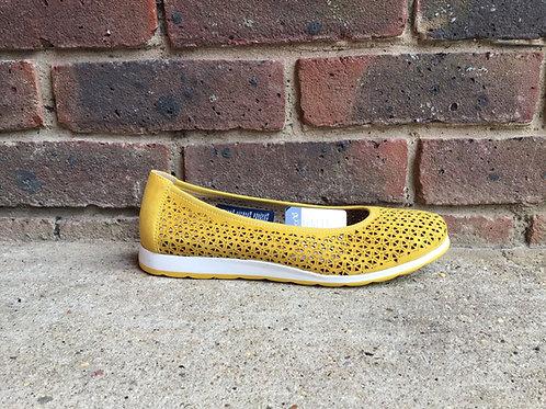Caprice Yellow Suede Ballet Shoe