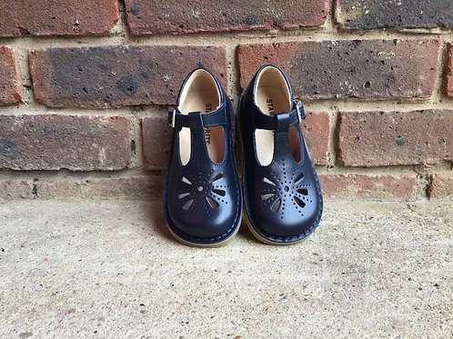 Startrite Lottie Navy Leather Classic T-bar Buckle Shoes