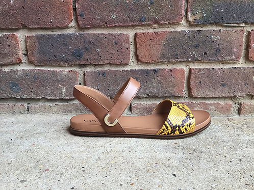 Caprice Brown/Yellow Snake Skin Sandal