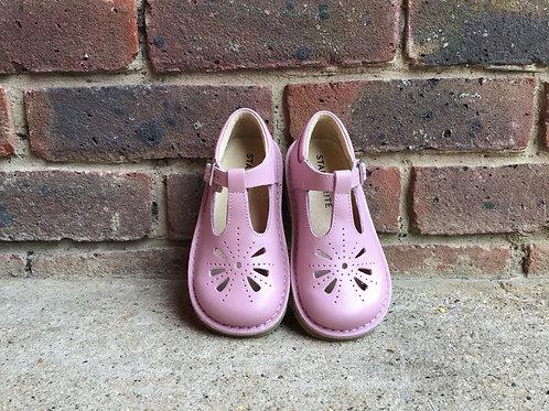 Startrite Lottie Pink Leather Girls T-bar Buckle  Shoes