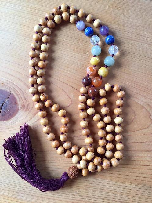 マラビーズ (チャクラビーズ&白檀) Mala Beads (Chakra beads & Sandalwood)