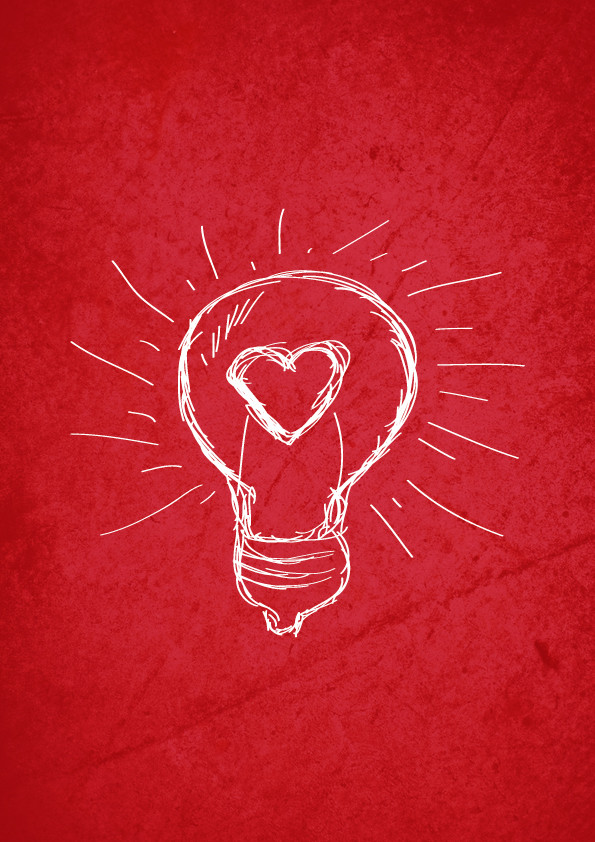 on a red sheet of paper, is a sketch of a light bulb with a heart drawn in the middle of the glass bulb, that appears to be lit brightly, judging by the white rays of light emanate from the bulb.