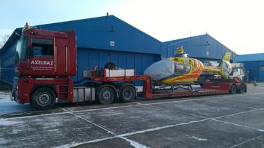 Transport śmigłowca LPR (wymiary ładunku: 10,21 x 2,40 x 3,62m waga: 3,0t)