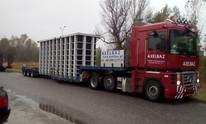 Transport konstrukcji wanny przemysłowej (wymiary ładunku: 8,00 x 2,50 x 3,70m waga: 10,0t)