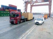 Transport maszyny CNC w drewnanej skrzyni (wymiary ładunku: 7,50 x 3,50 x 3,50m waga: 15,0t)