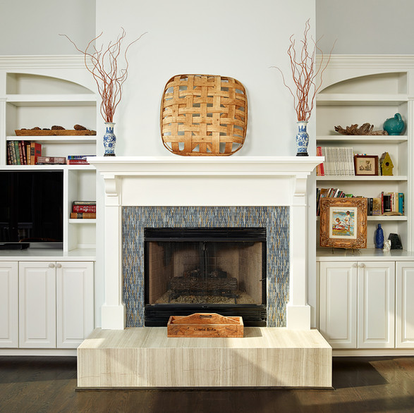 Glass Mosaic Surround & Stone Hearth