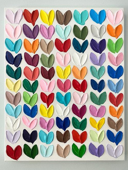 "Polka Daub Hearts Grid 2, 14""x11"""
