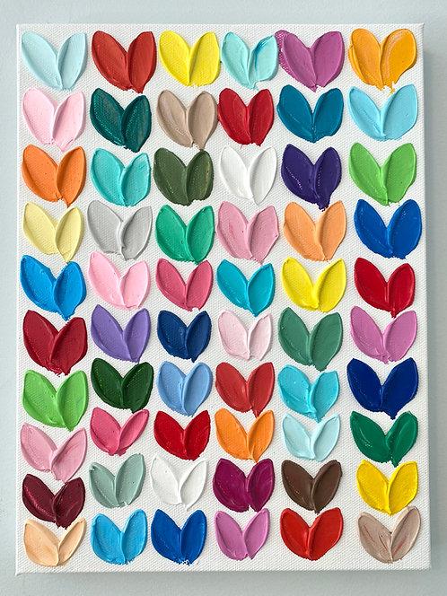 "Polka Daub Hearts Grid 4, 12""x9"""