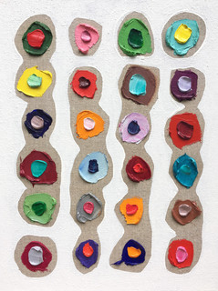 "Totem Polka Daubs, oil and acrylic on canvas, 14""x11"", $350"