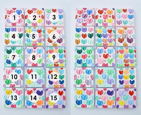 """Mini Polka Daub Hearts, 4""""x4"""" each"""