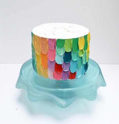 "Rainbow Plume Cake, 7""x5"""