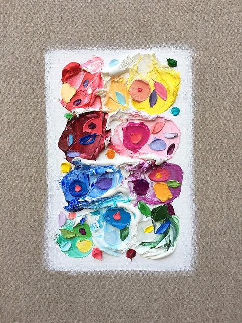 "Floral Palette Polka Daubs, 14""x11"""