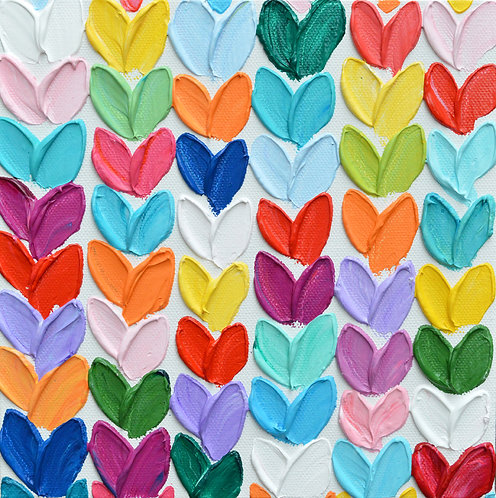"Polka Daub Hearts Grid, 8""x8"""