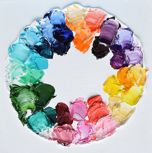 "Color Wheel Polka Daubs, 12""x12"""