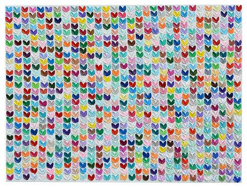 """Confetti Polka Daub Hearts, 36""""x48"""""""