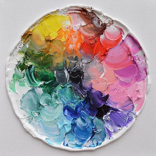 """Color Wheel Polka Daubs 2, 12""""x12"""""""