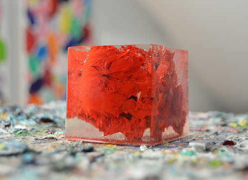 """Red Paint Blockage, 2"""" cube"""