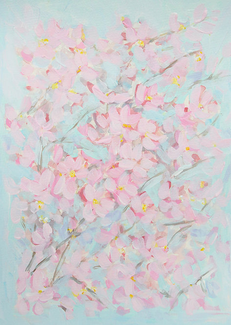 "Cherry Blossom Study, 16""x12"""