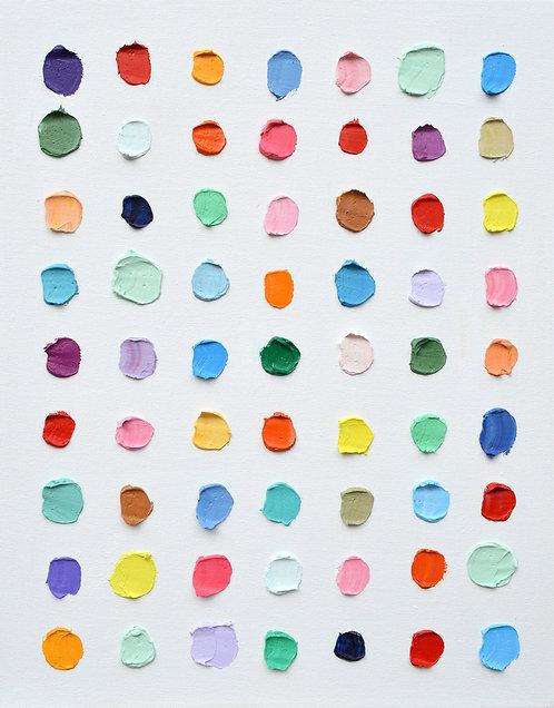 """10 Shades of Mint Polka Daubs, 20""""x16"""""""