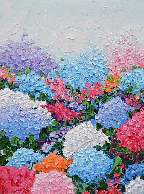 """Hydrangea Garden, 24""""x18"""""""