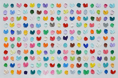 """Polka Daub Hearts 2, 24""""x36"""""""