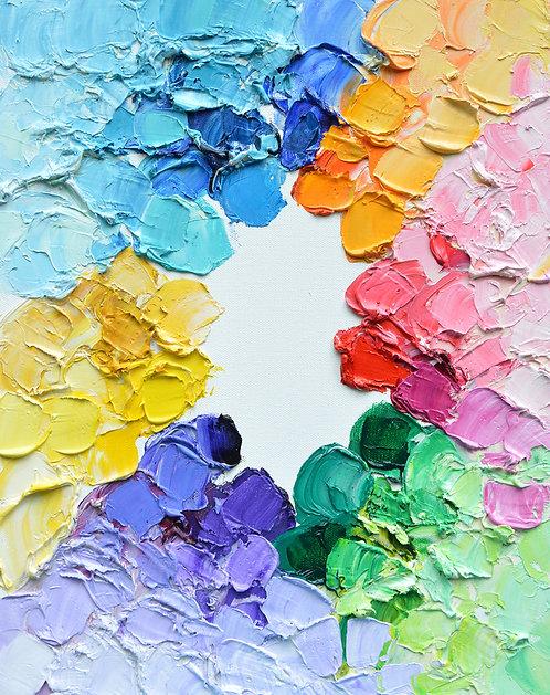 """Color Wheel Polka Daubs 4, 18""""x14"""""""