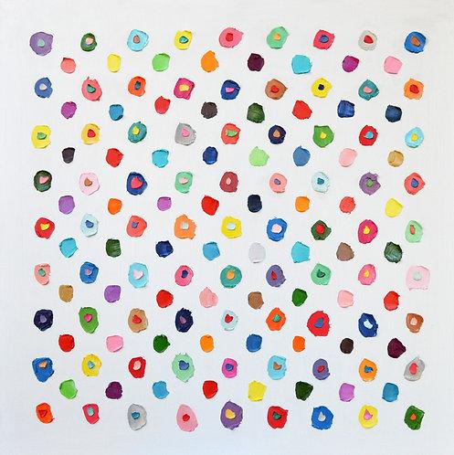 """Concentric Confetti Polka Daubs,40""""x40"""""""