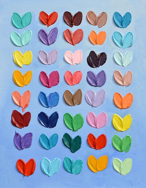 Sky Polka Daub Hearts, 14x11
