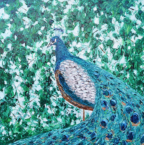 """Peacock Forest, 30""""x30"""""""