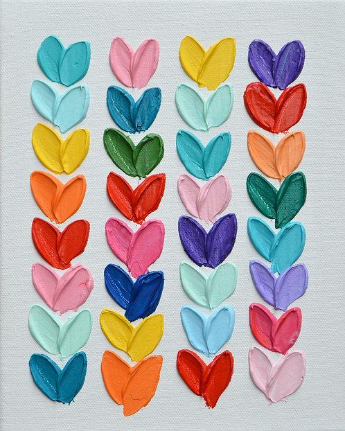 """Polka Daub Hearts 2 , 10""""x8"""""""