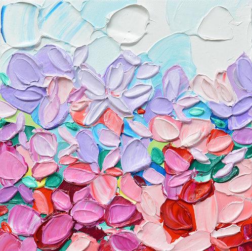 "Periwinkle Blooms, 10""x10"""