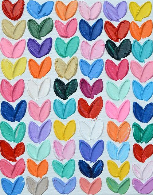 "Polka Daub Hearts Grid 2, 10""x8"""