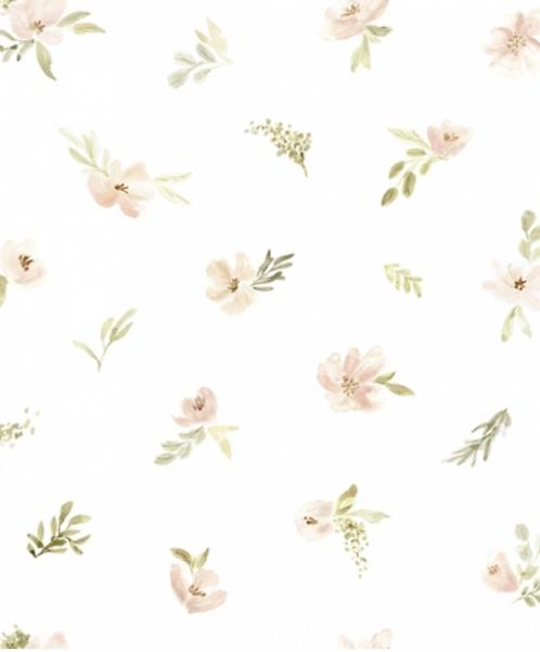Papier peint - Fleurs aquarelles