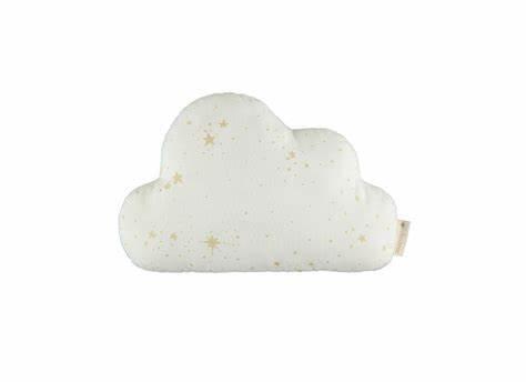 Nobodinoz - Coussin nuage gold stella/white