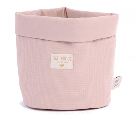 Nobodinoz - Panier Small nid d'abeille misty pink