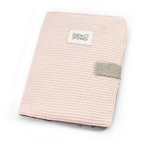 Babyshower - Protège carnet de santé waffle blush