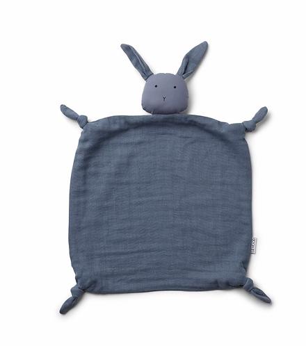 Doudou lange lapin bleu
