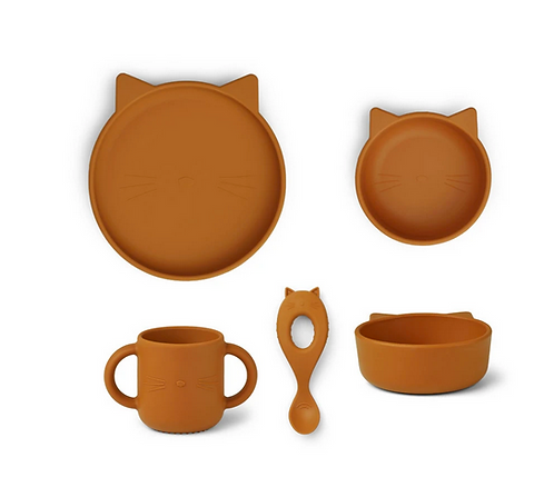 Set vaisselle silicone moutarde