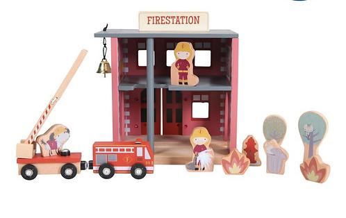 Little dutch - caserne des pompiers pour circuit train
