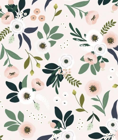 Papier peint - fleurs fond pâle