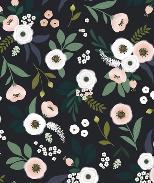 Papier peint - fleurs fond sombre