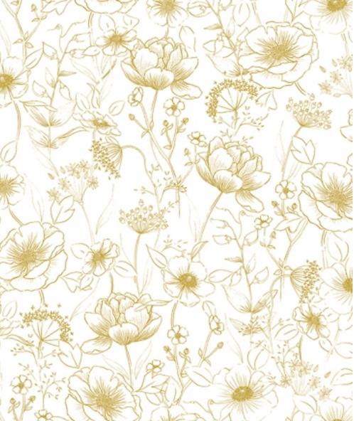 Papier peint - Fleurs ocre