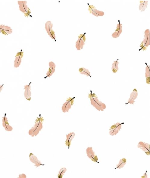 Papier peint - Plumes dorées